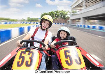 fille, conduite, kart, piste, mère, aller