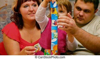 fille, cubes, parents, jouer