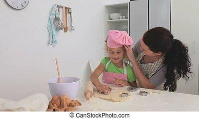 fille, cuisson, elle, mère