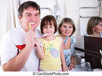 fille, dents, père, leur, brosse, maman