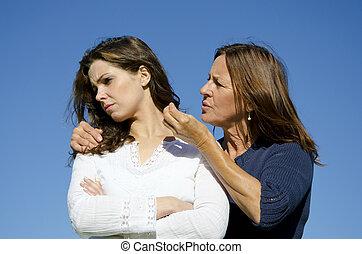 fille, discussion, ou, mère, avoir, conflit
