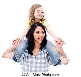 fille, elle, donner, cavalcade, ferroutage, mère, beau