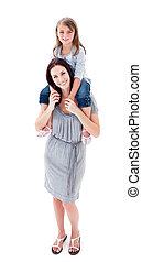 fille, elle, donner, enthousiaste, ferroutage, mère, cavalcade