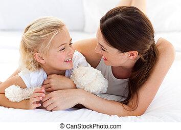 fille, elle, ensemble, jeu mère, heureux
