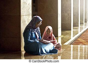 fille, elle, musulman, coran, mère, enseigner, lecture