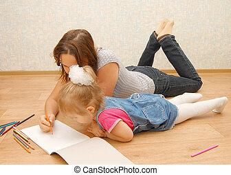 fille, elle, plancher, jeune, mère, dessin, mensonge