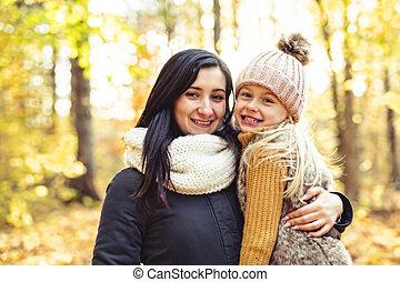 fille, famille, automne, parc, mère, heureux