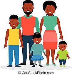 fille, famille, deux, sons., enfants, heureux
