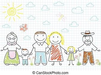 fille, famille, -, fils, grand-père, grand-mère, père, mère, heureux