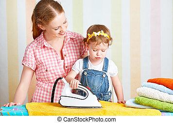 fille, famille, ir, engagé, ensemble, ménage, mère, bébé