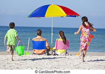fille, famille, père, fils, parents, mère, plage, enfants
