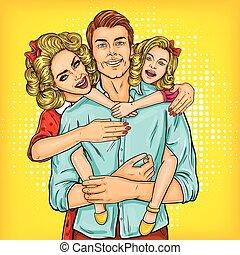 fille, famille, -, père, mère, portrait, heureux