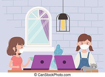 fille femme, maison, séjour, salle, chat, informatique, ordinateur portable
