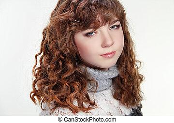 fille femme, peau, cheveux, beauté, long, brun, portrait, bouclé, adolescent, propre