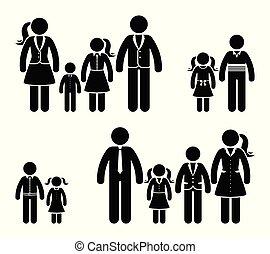 fille, figure, fils, père, crosse, mère, icône