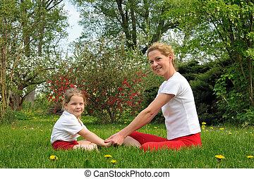 fille, formation, -, mère