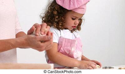 fille, gâteaux, cuisson, maman