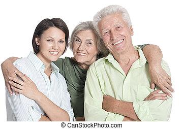 fille, isolé, parents, portrait, personne agee, heureux