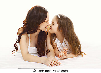 fille, jeune, happiness!, mère, portrait, heureux