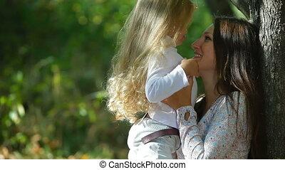 fille, jouer, mère
