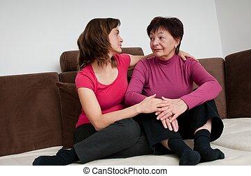 fille, -, mère, personne agee, regrets, dépression