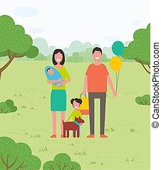 fille, mère, tient, promenade, elle, ballons, park., famille, père, arms., bag., bébé, chien