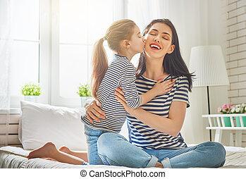fille, maman, elle, jouer