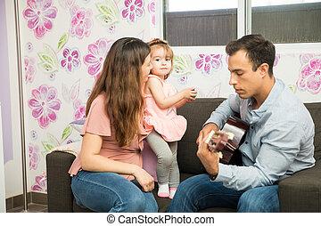 fille, maman, elle, musique écouter, papa