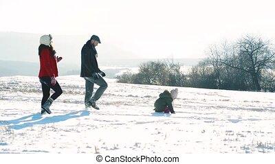 fille, marche, père, snow., leur, mère