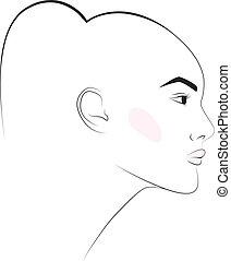 fille, mode, boucle oreille, tête, illustration, croquis
