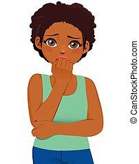 fille noire, expression, effrayé