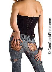 fille noire, jean, jeune, corset