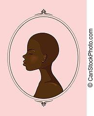 fille noire, silhouette, portrait illustration