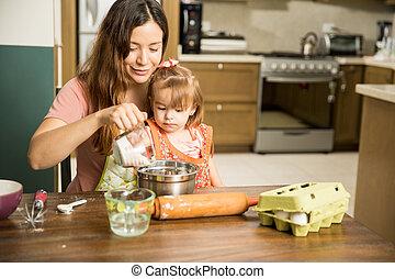 fille, pâte, préparer, mère