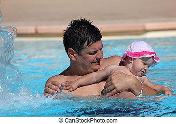 fille, père, amusement, avoir, piscine, natation