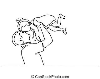 fille, père, haut, air, tenue, heureux