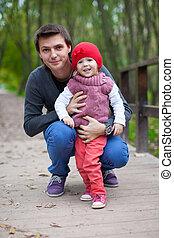 fille, père, parc, automne, portrait, heureux