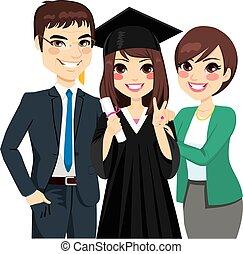 fille, parents fiers, remise de diplomes