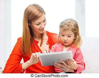 fille, pc tablette, informatique, mère, heureux