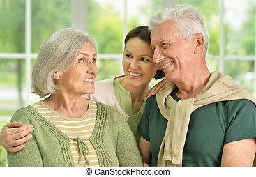 fille, personne agee, parents, heureux
