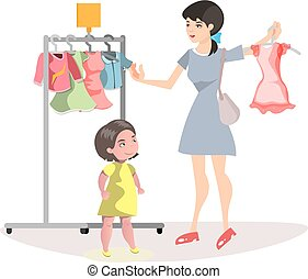 fille, peu, achats, maman, ensemble