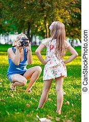 fille, photographier, elle, mère