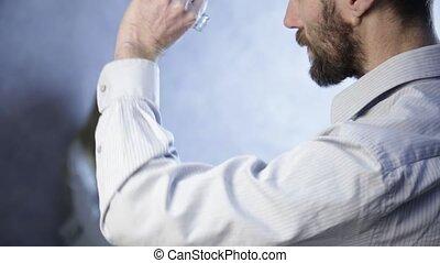 fille, prend, effroi, ivre, père, wall., abus, shrank, enfant, ceinture, peu fiable
