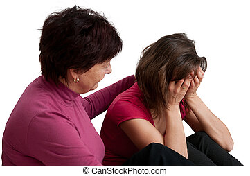 fille, -, problèmes, mère, personne agee, conforts