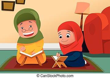 fille, quran, étudier, musulman, mère, maison
