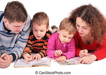 fille, regard, livres, fils, 2, parents