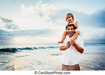 fille, sain, père, ensemble, coucher soleil, amusement,...