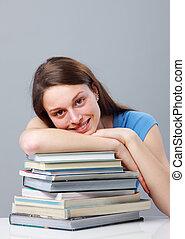 fille souriant, étudiant