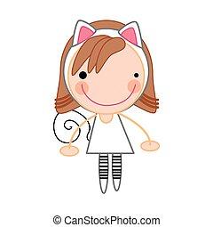 fille souriant, dessin animé