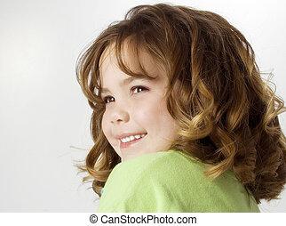 fille souriant, enfant